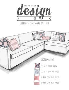 Sectional Drawing Navy Fleur