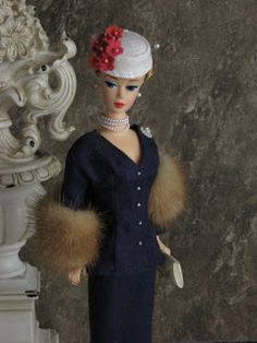 Couture Barbie, with pearls and fur.