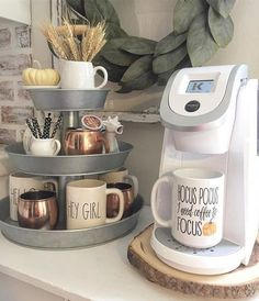 DIY coffee station / coffee bar ideas THIS POST HAS MOVED TO:  http://involvery.com/diy-coffee-station-ideas/   - love this simple kitchen counter coffee bar idea - has everything you need and is organized and cute!