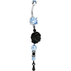 Handcrafted Blue CZ Black Rose Ice Dangle Belly Ring