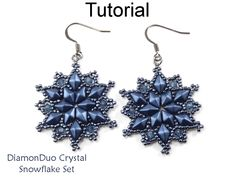 DiamonDuo Crystal Snowflake Winter Holiday Earrings Pendant Necklace Two Hole Beads Jewelry Making Pattern Tutorial by Simple Bead Patterns | Simple Bead Patterns