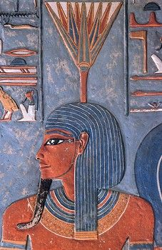 5.) EGYPTIAN ART-- PORTRAIT--Nefertem, Egyptian Deities, god of healing and beauty, symbol of fragrance and water-lily, son of Ptah and Sekhmet. Egyptians had very strict rules for making portraits. The person's feet and head were drawn facing the side, and their shoulders and eye were drawn facing the front.