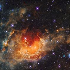 ohstarstuff:  The Tadpole Nebula Nebulas don't get much more picturesque than this. IC 410, or the Tadpole Nebula, lies about 12,000 light-years away from Earth. The massive cloud of glowing gas is over 100 light-years across. It was formed by intense stellar winds and radiation from embedded star cluster NGC 1893 which can be seen all around the star-forming nebula. This particular image was taken in infrared light by NASA's Wide Field Infrared Survey Explorer (WISE) satellite. (Image…
