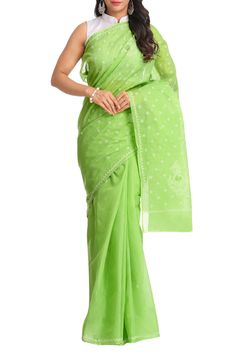 Ada #handembroidered Green #Cotton #Lucknowi #Chikan Saree With Blouse A346136 - #AdaChikan