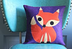 Orange & Purple Fox Pillow by maureencracknell, via Flickr