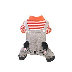 Pet Dog Puppy Suspender Padded Pants Panty Overall Trousers Clothes Jumpsuit Orange Stripes M * You can get additional details at