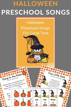 These Halloween preschool songs are perfect for circle time to build literacy skills such as alphabet awareness, letter sounds, and number word recognition. Literacy Skills, Early Literacy, Literacy Activities, Literacy Centers, Preschool Songs, Preschool Learning Activities, Monster Activities, Preschool Class, Teaching Ideas