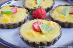 Mango Lime Tartlet [Vegan, Raw, Gluten-Free]   One Green Planet SWANK NOTE:  Use olive oil instead of coconut oil.