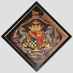 Hatchment in St Cuthbert's Church at Holme Lacy, to Charles Howard, Duke of Norfolk. The coat of arms include escutcheons of pretense for Howard's two wives, Marion Coppinger and Frances Scudamore. St Cuthbert, Alchemy Symbols, Family Crest, Crests, Archetypes, Coat Of Arms, Black Backgrounds, Fine Art, Book Binding