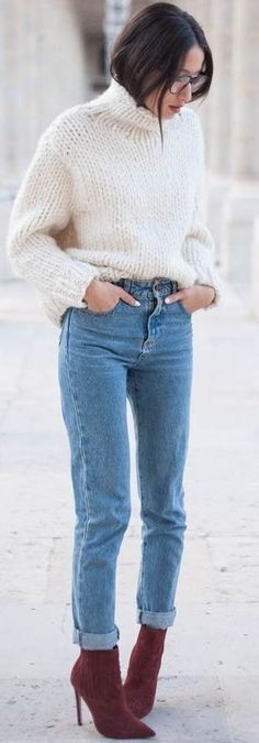 White sweater, skinny jeans, burgundy booties