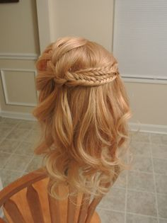 Waterfall braid into fishtail braids, crown of braids, wedding hair, formal hair, half-up, bridesmaid hair, prom hair. Hair by Christy: Simply Captivating On-Site Beauty Services, PGH, PA Follow me on FB!