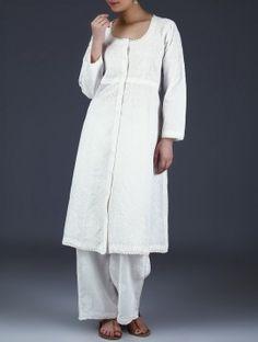 White Chikankari Embroidered Cotton Kurta