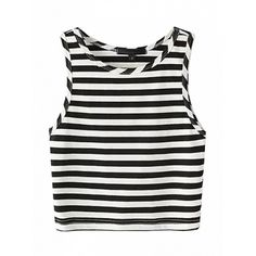Choies Monochrome Stripe Sleeveless Crop Top (7 PAB) ❤ liked on Polyvore featuring tops, crop top, shirts, tank tops, black, cropped shirts, shirt crop top, stripe top, sleeveless crop top and striped shirt