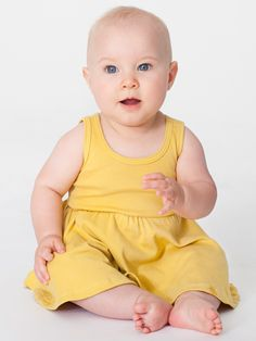 Organic Infant Baby Rib Skater Tank Dress In Dijon   American Apparel
