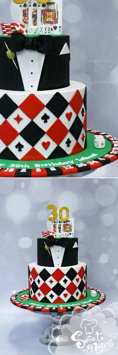 """Vegas Casino """"James Bond"""" themed 30th birthday cake 
