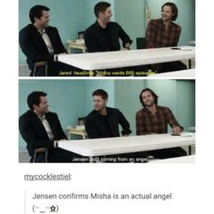supernatural tumblr textpost cast misha collins gifset jensen ackles cockles funny lol jared padalecki