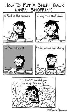 Sarah's Scribbles :: How To Put Back A Shirt | Tapastic Comics - image 1