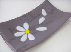 Fused Glass Platter lavender white daisy flower falling petals