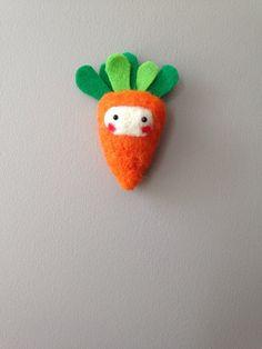 Orange and Green Carrot Needle Felt Brooch by nadiaillustration