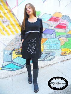 """Vestido """"Yo Quisiera"""", con estampado serigráfico de creación propia."""