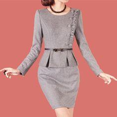 尘颜2015春装新款职业套裙修身气质羊毛呢木耳边假两件长袖连衣裙-淘宝网