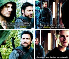 Oliver & Slade have the saddest relationship. It breaks my heart. Slade needs redemption at some point in the series because he cared about Oliver until they injected him with Mirakuru, and the side effects weren't his fault. | #Arrow