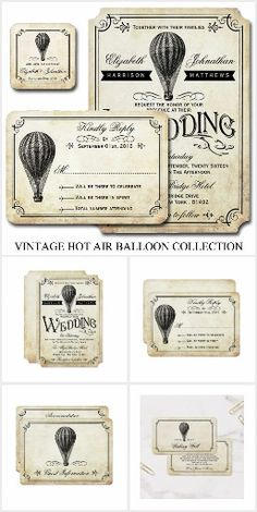 Retro Vintage Hot Air Balloon WEDDING SET COLLECTION Unique Personalized Invites Announcements Invitations Stickers Labels RSVP Thank You Cards & More!