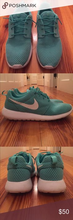 Nike Roche One Sneakers Gently Used Very gently used. Slight wear on treads and some faint discoloration on inside of shoes near top laces (see photos). See photos for current condition.   Color is a light aqua/turquoise blue.   Discontinued color.   No trades Will consider reasonable offers Nike Shoes Sneakers
