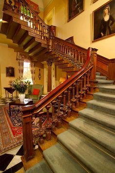 staircase at Hillington Hall (interiors based on Middlethorpe Hall, a historic house hotel owned by the National Trust)