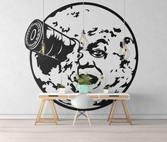"""Trip to the Moon inspired wall decal / sticker - Wall decals for magical minds...    Price : 21.00 EURO ( S&H if applicable)  ... HashTags : #brutalvisual #brutalvisualstudio #handmade #custom #etsy #customdesigns #brutal #wallstickers #decal #moondecal #beautifulmoon #walldecal #fullmoon #vinyldecal #triptothemoon #VoyagedanslaLune #cinema #cinemadecal #GeorgesMéliès #canon  This decal is based on the """"Trip to the Moon"""" (French: Le Voyage dans la Lune) 1902 French silent film directed by…"""
