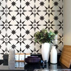 Our Modern Geometric tile stencil is a perfect money saving alternative to expensive cement tiles. You can stencil this geometric tile pattern right over your existing floor tiles for a inexpensive update. Best stencil designs by Cutting Edge Stencils Painting Tile Floors, Painted Floors, Stencil Painting, Painted Tiles, Painted Cement Patio, Painting Over Tiles, Painting Bathroom Tiles, Stencil Patterns, Stencil Designs