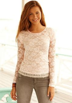 dELiAs Floral Lace Long Sleeve tops view all tops Style Matters, Find Girls, Girl Outfits, Fashion Outfits, Lace Jacket, Stretch Lace, Lace Tops, Teen Fashion, Floral Lace
