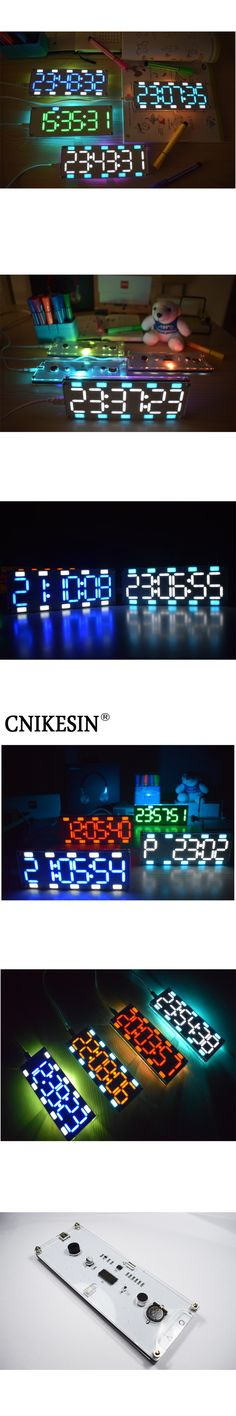 CNIKESIN DIY 6 Digit LED Large Screen Two-Color Digital Tube Desktop Clock Kit Touch Control