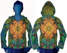 UV Jacke original von Space Tribe Psy Goa Hippie Party Trance Hoodie Neu N1