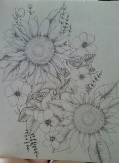 Sunflowers and roses, possible tattoo