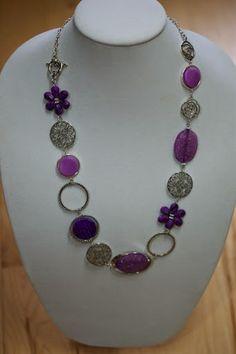 Purple and lilac long necklace - Long asymmetrical necklace  | LesBijouxLibellule - Jewelry on ArtFire