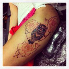 In progress owl'n roses tattoo