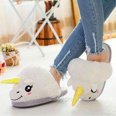 White-Soft-Cotton-Plush-Unicorn-Slipper-Shoe-Winter-Warm-Home-Indoor-Women-New