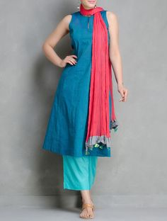 Buy Blue Tie Up Waist Elasticated Pants Cotton Cambric by Maati Crafts Online at Jaypore.com