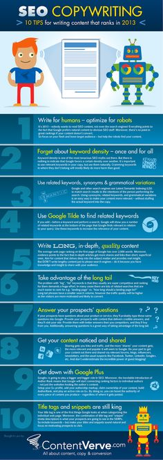 10 Tips for writing Content that Ranks.  #copywritingtips #infographic