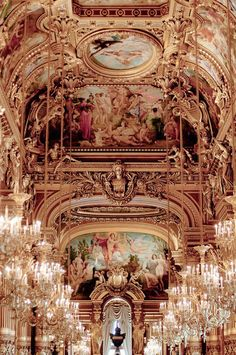 I have afew pics of the Opera House in Paris, and will probably get more. The opulence of it is so darned beautiful! Between the chandliers, the gold, the ornate carvings. Chandeliers at the Opera Garnier, Paris Baroque Architecture, Beautiful Architecture, Beautiful Buildings, Beautiful Places, Architecture Interiors, Ancient Architecture, Modern Architecture, Paris 3, Paris City