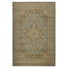 Surya Paramount Rectangular Blue Floral Woven Olefin/Polypropylene Area Rug (Common: 8-Ft x 11-Ft; Actual: 93-in x 134-in)