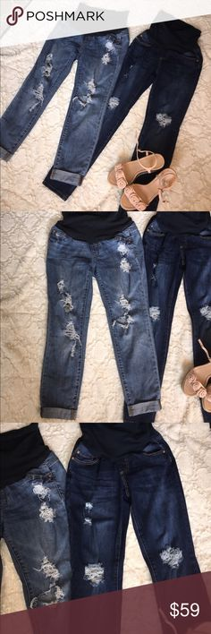 "2 maternity jeans So cute!  2 pair of distressed maternity jeans. The light pair is permanently cuffed. The darker pain can be worn long or cuffed. From the ""led"" collection. A Pea in the Pod Jeans"