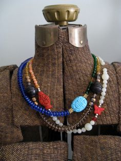 Carved Turquoise 3-String Beaded Necklace