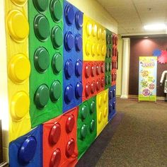 Fun lego wall made with bulletin board paper and colored plastic plates. This wo… Fun lego wall made with bulletin board paper and colored plastic [. Diy Classroom Decorations, Classroom Themes, Lego Party Decorations, Classroom Wall Decor, Classroom Door, Classroom Ceiling, Vbs Themes, Decoration Party, Classroom Displays