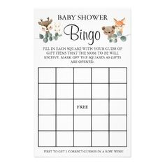 Woodland Baby Shower Bingo game card Baby Bingo, Baby Shower Bingo, Bingo Games, Card Games, Holiday Cards, Christmas Cards, Pregnancy Announcement Cards, Custom Flyers, Woodland Baby