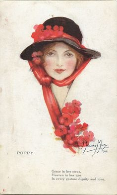 """Poppy"" - Vintage postcard (after the original drawing by Marjorie Mostyn) - 1916"