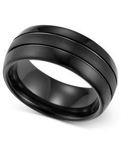 Triton Men's Ring, 8mm Black Tungsten 3-Row Wedding Band | macys.com