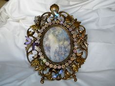 """Rare KIRKS FOLLY Goldtone Picture Frame Dragonflies/Butterflies Large 11 X 8.5""""…"""