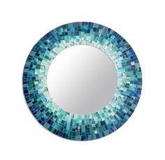 Mosaic Art Mosaic Mirror Turquoise Round Wall by NewArtsonline